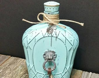 Crown Royal Bottle, Shabby Chic Bottle, Aqua Bottle, RobinsStudio, Recycled, Rustic, County, Cottage Chic, Bottle, Upcycled Bottle, Chic