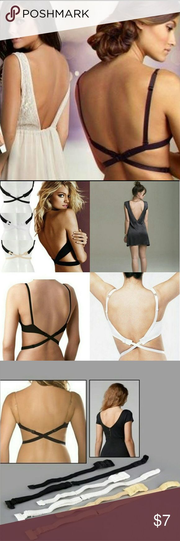 Low Back Backless Bra Strap Extender A perfect solution for your low back tops and summer dress.  Fully adjustable bra adapter strap, simply attach it to the bra, cross over behind and fasten the strap in the front.  Can be attached to any bra and fully adjustable  Condition: 100% Brand New  Available Color: White, Beige, Black.  *** Please leave me comment with your prefer color when ordering. Other