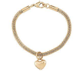 Stainless Steel Polished Heart Dangle Charm Mesh Bracelet