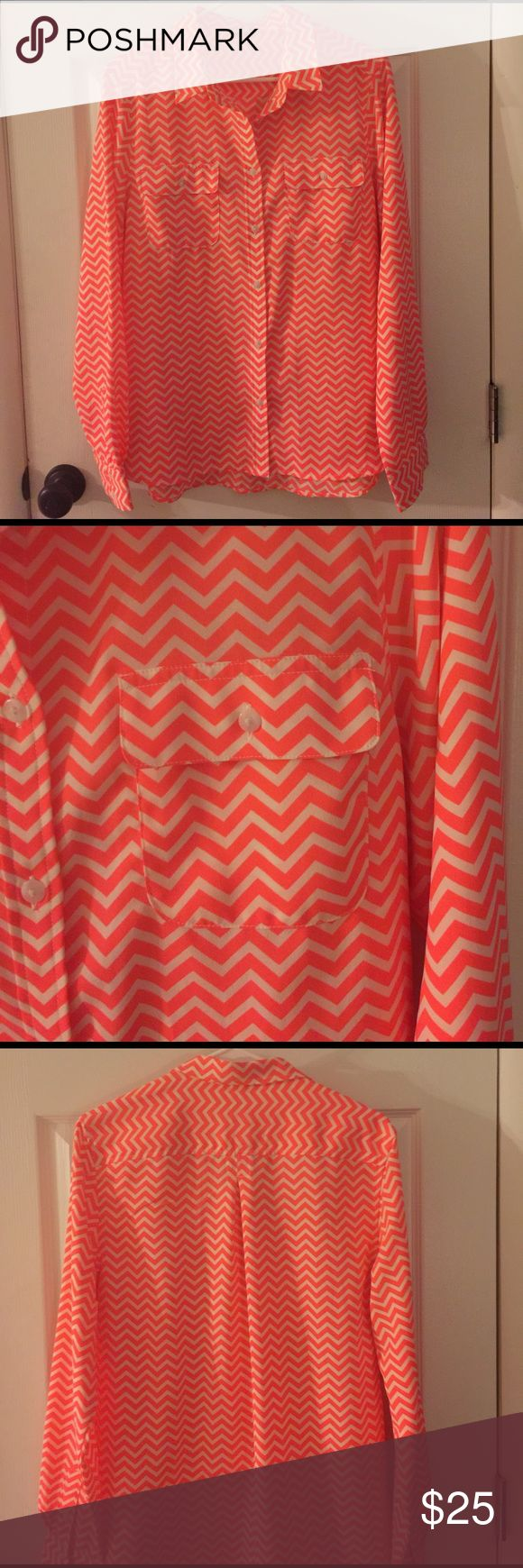 Fluorescent Chevron Top Gorgeous nwot chevron oxford. Worn once - brand spankin new condition and super fun!! American Eagle Outfitters Tops Blouses