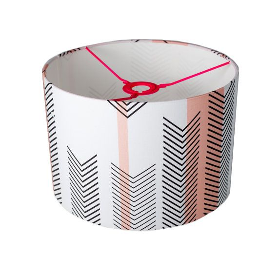 Handmade Contemporary  | Drum Lamp Shade  | Pink  | Chevron  | Fabric