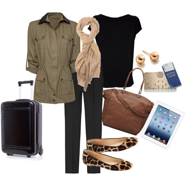"""Winter Travel Outfit for Long Haul Flight"" by taygia on Polyvore"