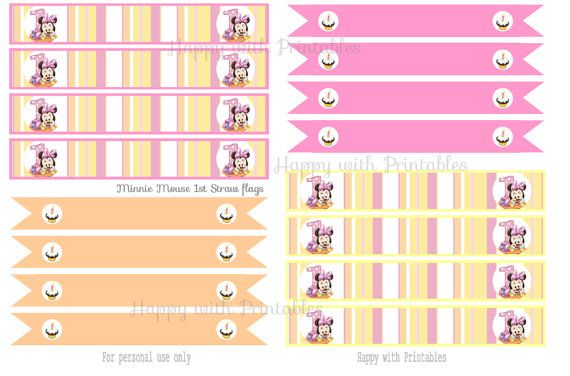 Minnie Mouse 1st Straw flags  Minnie Mouse 1st Party