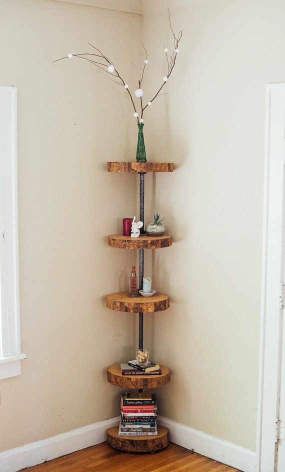 Corner Book Shelf - Adjustable Corner Shelf - Ash Wood Live Edge Slab