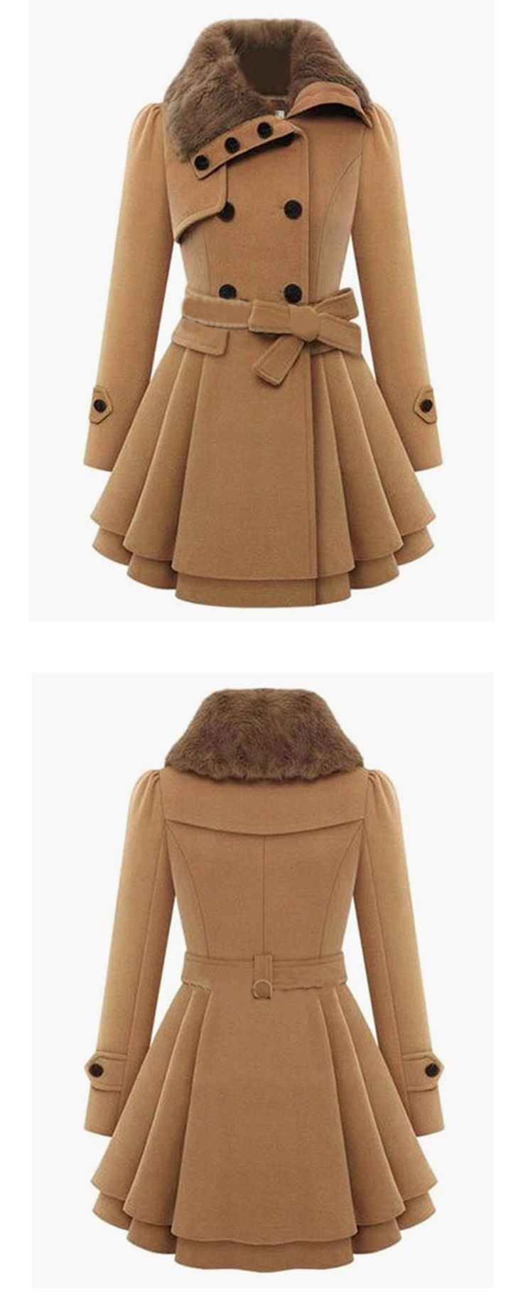 Khaki Long Sleeve Double Breasted Tie-Waist Coat - Winter Fashion - Street Fashion from SheIn.com