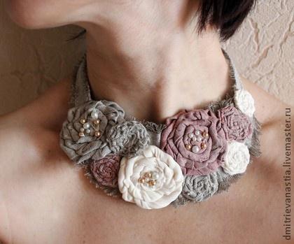 "Necklace beads handmade.  Fair Masters - Handmade Textile necklace ""Butter.""  Handmade."