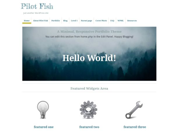 Pilot Fish is an elegant portfolio theme with minimal design: featuring a custom post type to highlight projects and work, and parallax scrolling on the front page to display a featured image. Responsive layout makes it adaptive to mobile devices. Also Pilot Fish supports custom menus, post formats and is available in Japanese, Spanish and Russian. In this release, version 0.3.3, new features include a dropdown menu for mobile devices, a theme option to include Google Analytics