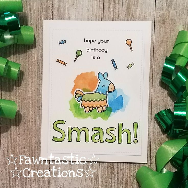 Hope Your Birthday Is A SMASH!        I used the Year Seven Lawn Fawn stamp for this cute birthday card.     I started with created a base...