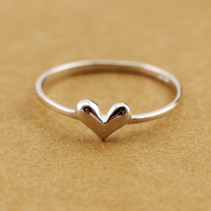Love Heart 925 Sterling Silver THIN Knuckle Midi Mid Finger Pinkie Ring A3145-1  | eBay