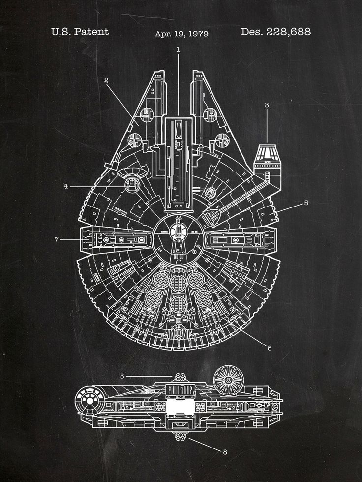 Star Wars - Millennium Falcon patent print on chalkboard background