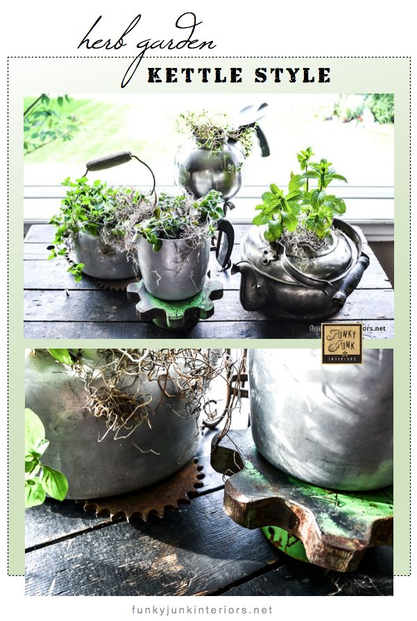 AN HERB GARDEN planted in teapots - via Funky Junk Interiors