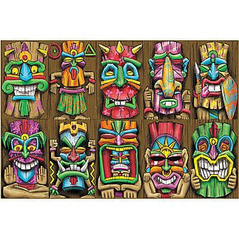 These Tiki Mask Cutouts are a great addition to your luau themed event. Our one-sided Tiki Mask Cut Outs measure 17 inches high x 10 inches wide.