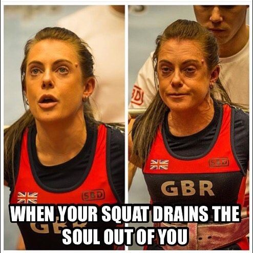 . When your squat drains the soul out of you . Follow @becki_77  what a difference a few seconds and a PB and British record squat of 105kg can make #squatface  #tbt #squat #powerlifting #powerliftinggirls #femalepowerlifter #girlswholift #girlswhosquat #