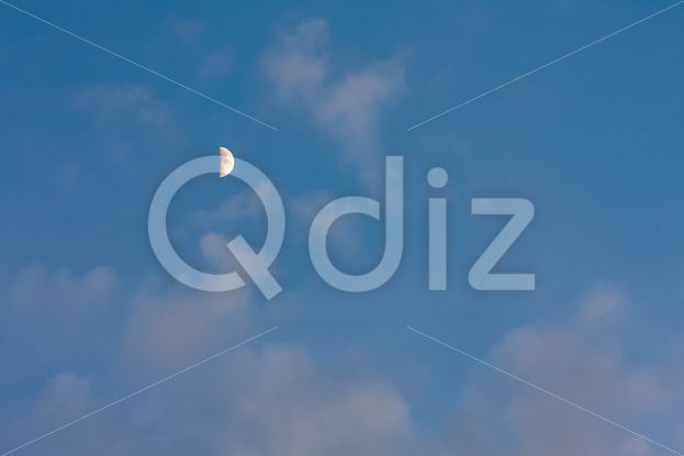 Qdiz Stock Photos | Moon on blue sky with pink clouds,  #background #beautiful #blue #cloud #cloudy #color #crescent #dawn #demilune #dream #dusk #evening #Fairy #fantasy #halfmoon #heaven #highup #luna #lunar #moon #mysterious #mystery #natural #nature #naturesurreal #pink #romantic #sky #Sunset #Time #tranquil #twilight