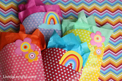 "Easy to make #Rainbow Party favors. Cute designs by ""Party with Amy Locurto"" via PebblesInc.com"