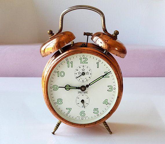 Vintage Copper Alarm Clock German Twin