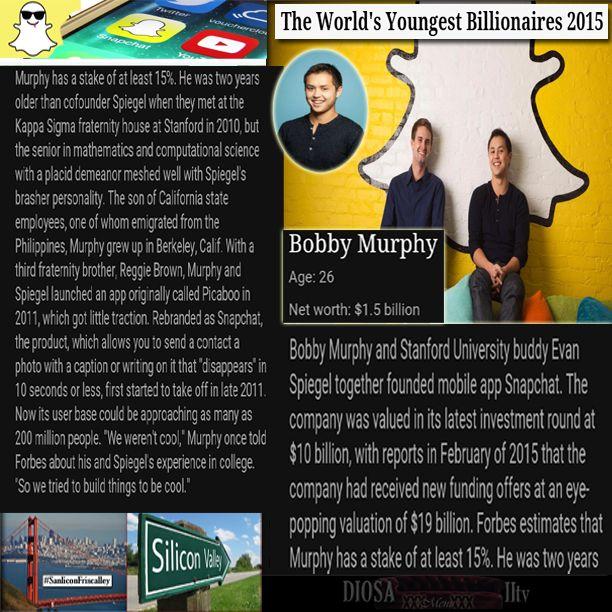 Brave New World's Youngest Billionaires 2015.  #picaboo fail iz #snapchat's gain. #BobbyMurphy age:26 Net worth: $1.5 billion App users: approx. 200 million (8-12-2015) #becoolbuildthings  Ownership in co.: 15% (partnership) diosaiitv.lsl.com  Sanlicon Friscalley  #berkeley #ca ✈#philippines #Onsdag #Mercoledì #Středa #Woensdag #Mercredi #Mittwoch #水曜日 #Środa #Quartafeira #Среда