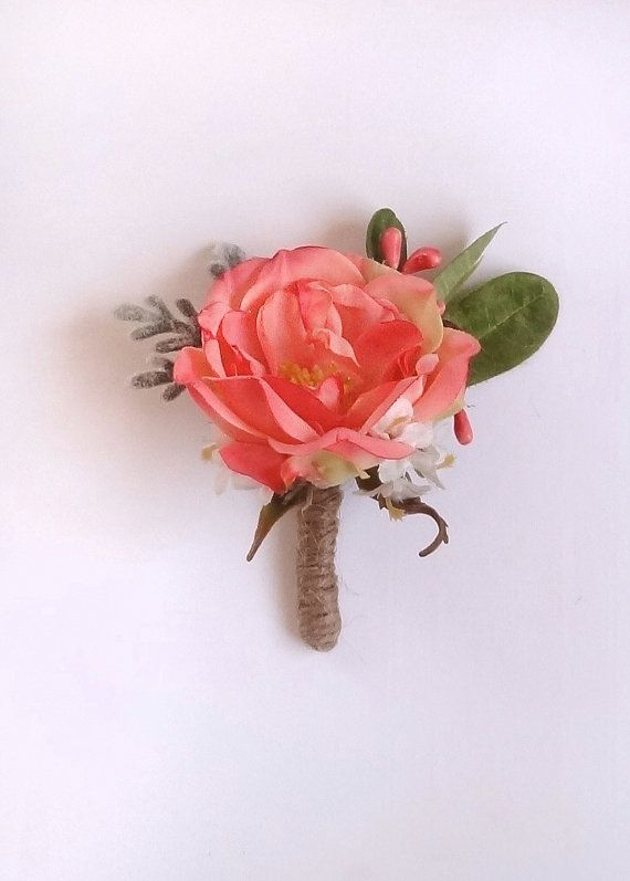 coral peony boutonniere groomsmen boutonniere by thehoneycomb