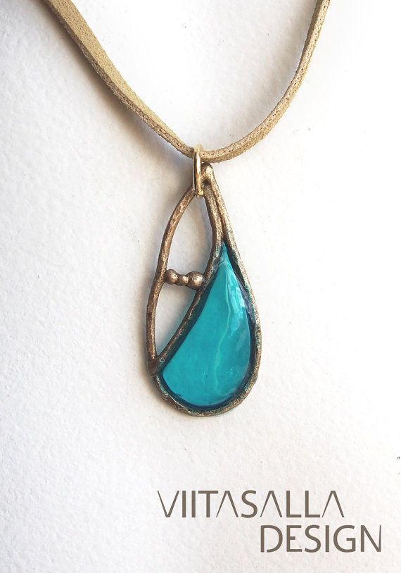 Droplet in Turquoise - Bronze pendant by Viitasalla Design on Etsy