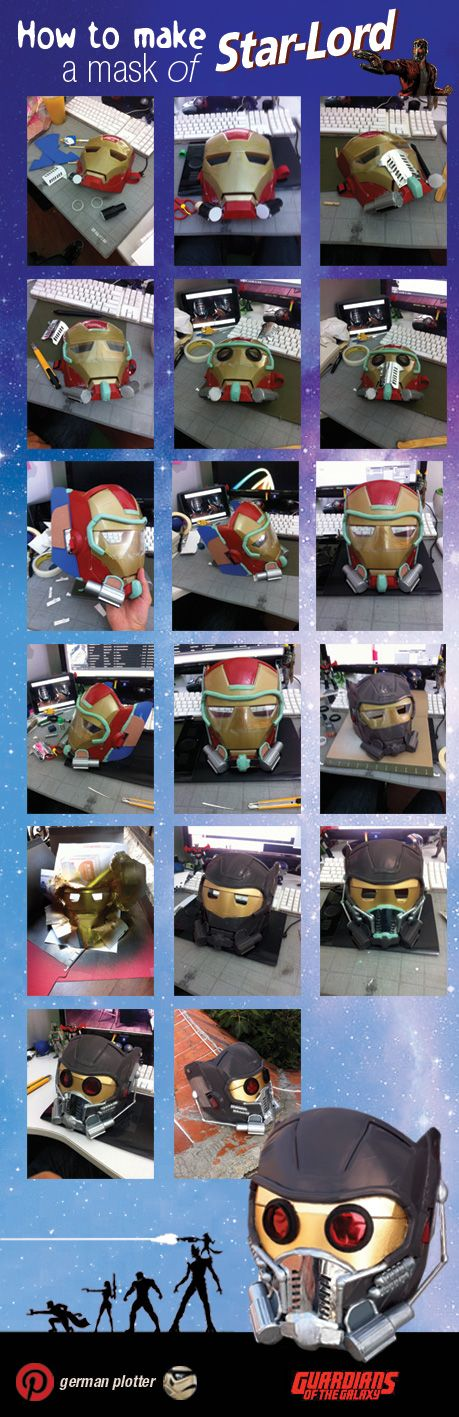 How make a mask of Star-lord with a mask of Iron-man XD