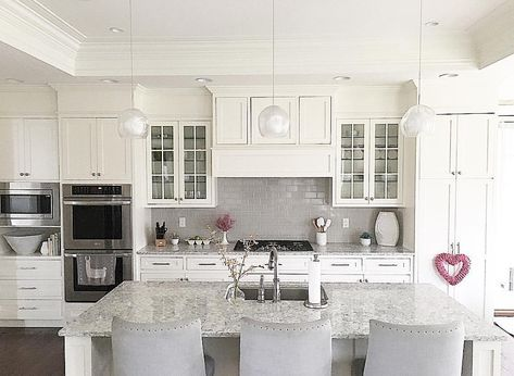 White Kitchen With Grey Subway Tile Backsplash And Shaker