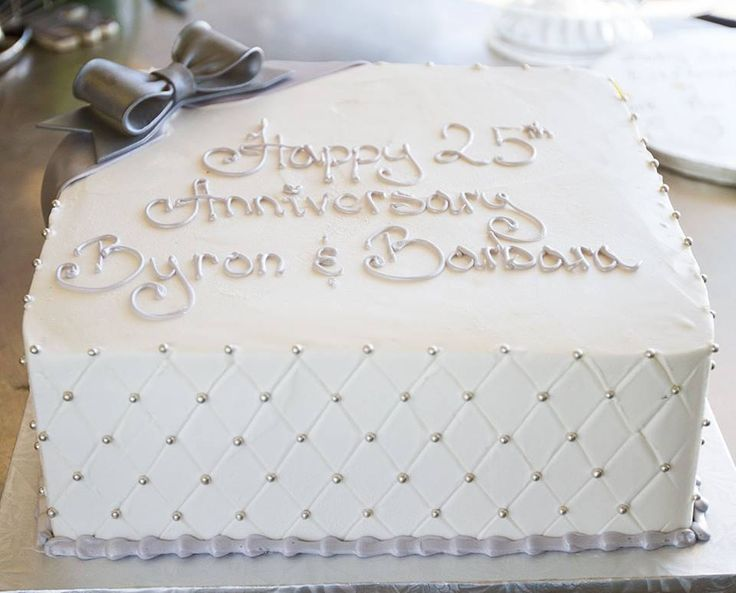 A silver 25th anniversary cake! Cake # 003.