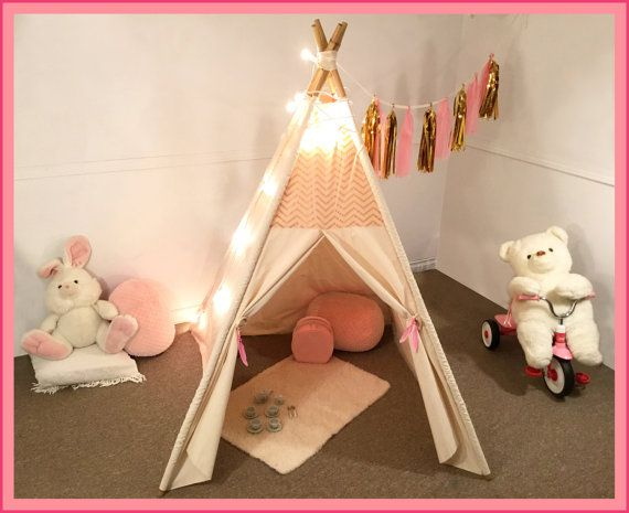 Large Gold u0026 Pink Teepee tent chevron play tent kids teepee tent Shabby chic teepee Nursery decor baby shower gift & 31 best Kids Teepee Tents images on Pinterest | Kids teepee tent ...
