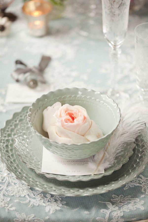 Winter tabletop...: Plates, Weddings Tables Sets, Teas Cups, Floral Design, Blue, Color, Place Sets, White Lace, Feathers