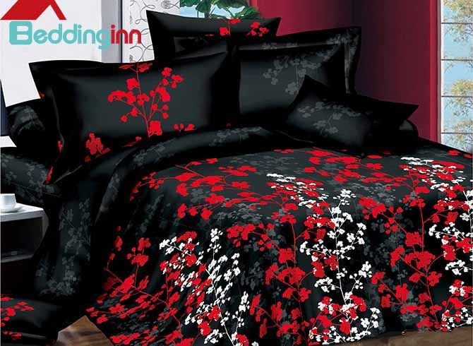 White and Red Flowers Design with Black Background 4-Piece Duvet Cover Sets #floralbedding #3dbedding