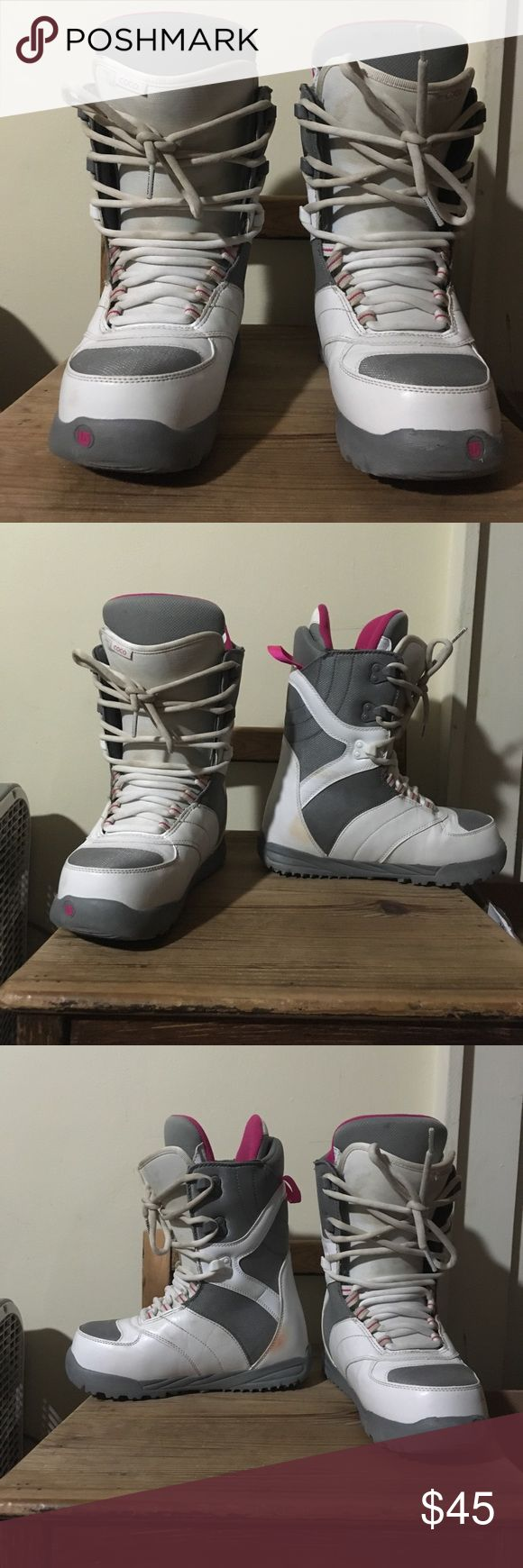 Burton snowboard boots Awesome burton snowboard boots. Size 8 women's coco  Pink gray and white colors. Minor marks on boots from binding. Please refer to pictures. Ask any question and make an offer ! Burton Shoes Winter & Rain Boots