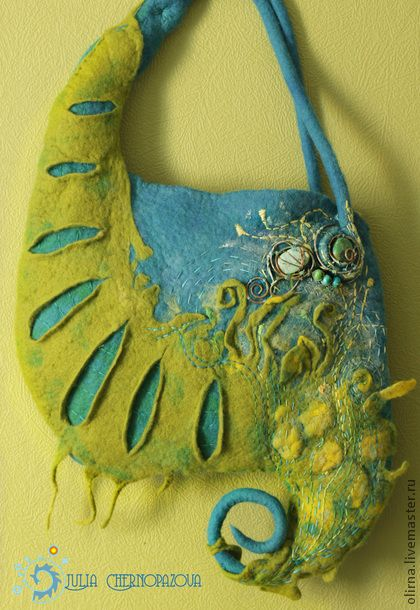 """""""Dandelion Wine"""" bag and brooch - turquoise, felted bag, tote bag--LOVE this woman's art!!"""