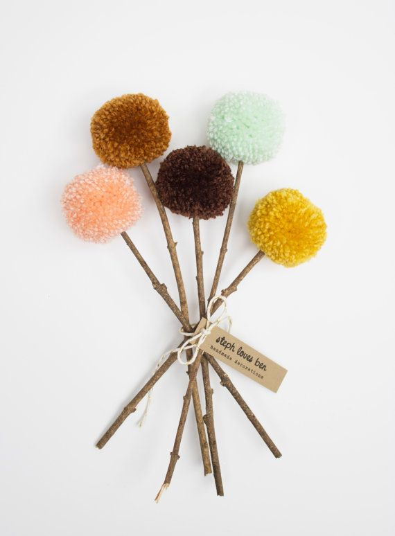 Yarn Pom Pom Flowers Fall Bouquet (peach, cinnamon, brown, mint, mustard)