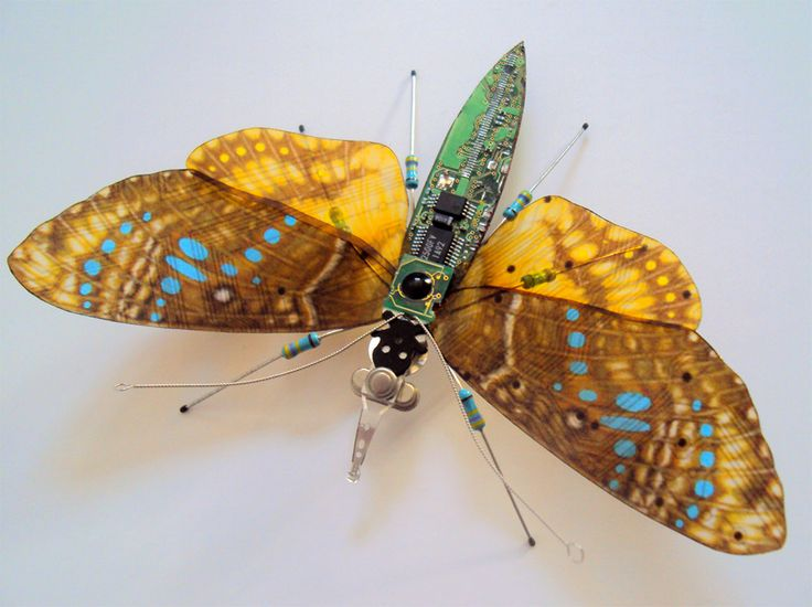Before old circuit boards find their way to the landfill, Portsmouth, UK-based artist Julie Alice Chappell gives them new life as winged insects. Tearing the boards from old computers and video game systems she cuts and sculpts them into crawly creatures that resemble butterflies, dragonflies an