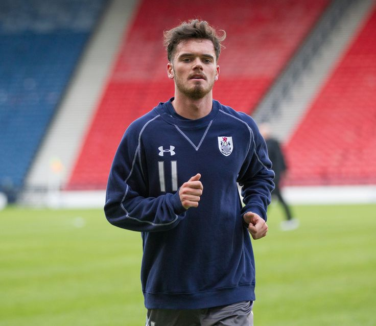 Queen's Park's Aidan McIlduff warming up before the Ladbrokes League One game between Queen's Park and East Fife.