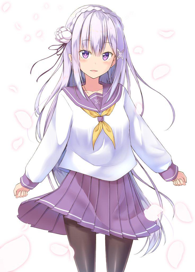 Girl Waving Cartoon Wallpaper Emilia Re Zero 2025168 Zerochan ในปี 2019 สาวน้อย