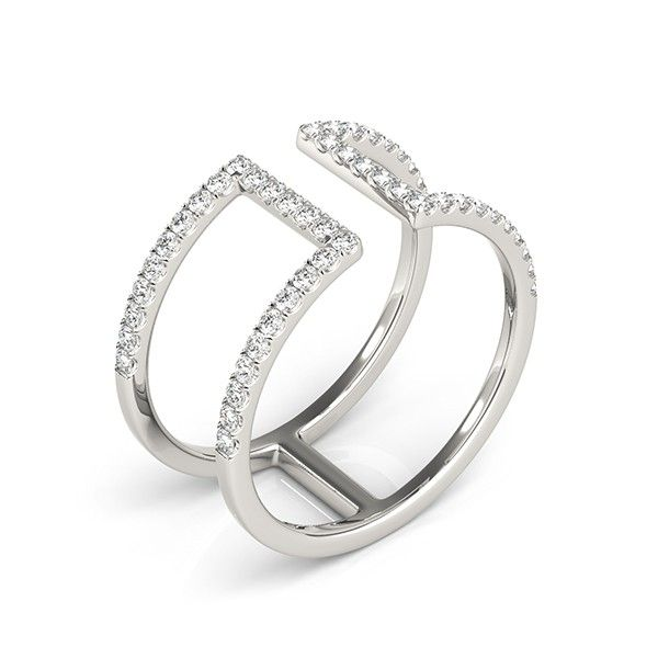 ''Emera'' .50ctw Dual Split Shank Bar Diamond Fashion Band Give the perfect gift with this chic diamond fashion ring.  This fashion forward ring has two bands that are separated by a polished bar and wrap the finger, not quite meeting in the middle. Holding fifty (.50ctw) sparkling round brilliant-cut diamonds, this ring is a vision of beauty.