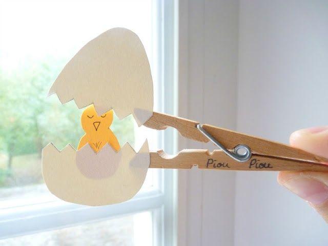 Chick in egg - clothespin - super cute DIY | miscella.com.br