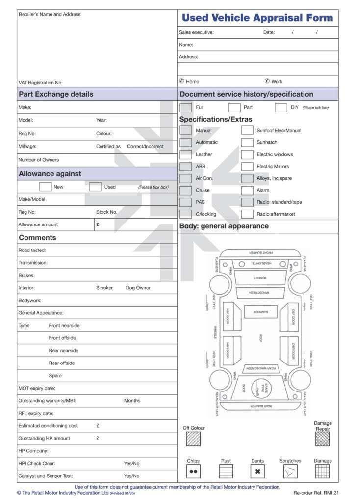 Car Appraisal Forms Word Excel Fomats Templates, Free