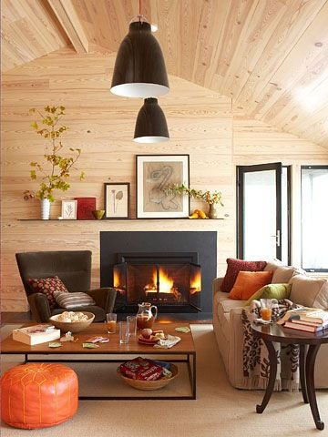 .: Idea, Living Spaces, Fall Colors, Interiors Design, Colors Palettes, Natural Wood, Cozy Living Rooms, Black Fireplaces, Wood Wall