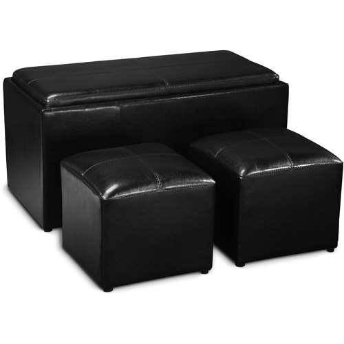 Faux Leather Storage Bench With 2 Side Ottomans Black Hooka Bar Pinterest