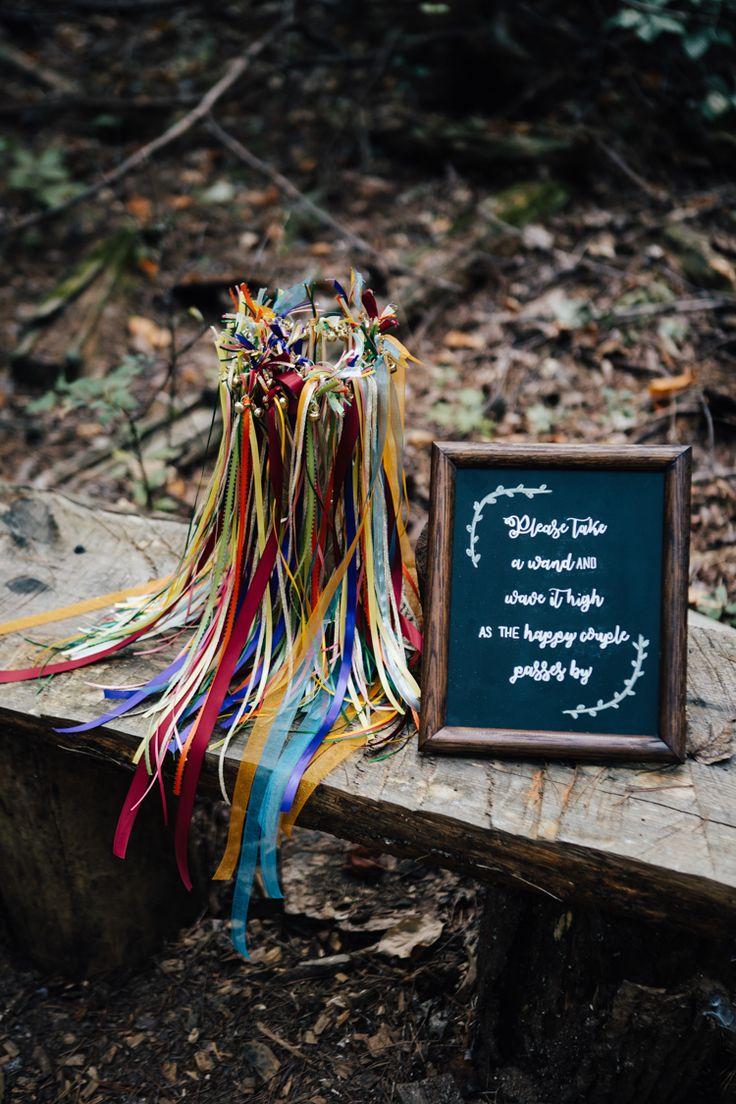 Outdoor Ceremony Colourful Ribbon Wands DIY Blackboard Sign Adventure Inspired Woodland Wedding North Carolina http://www.amandasuttonphotography.com/