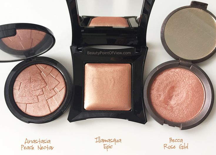 Peach Highlighter comparisons - review and swatches. I#makeup #beauty #illamasqua #anastasiabeverlyhills #abh #becca