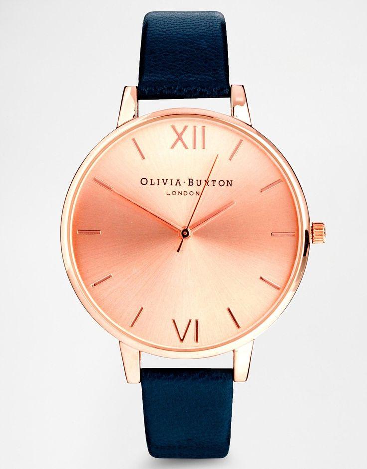 Bild 1 von Olivia – Burton – Armbanduhr in Marineblau mit großem Zifferblatt in Roségold