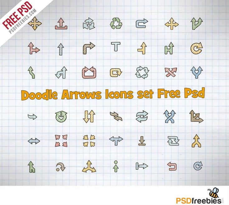 Download Doodle Arrows Icons set Free PSD . This Arrows Icons set symbols are up, down, left, right arrows, double and two sided arrow, different directions, pointers, triangles, arrows in round shapes, icons, circle arrows in recycling style. The arrows are available PSD format, for personal or commercial use.