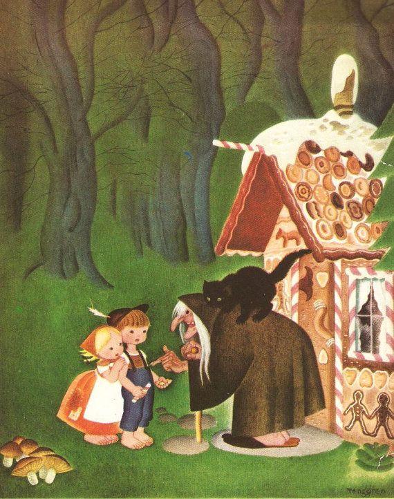 Hansel and Gretel Gingerbread House Vintage Illustration