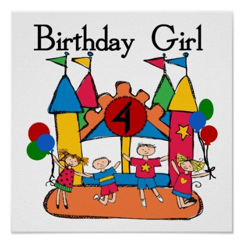 Big Bounce Girl 4th Birthday T-shirts and Gifts Poster
