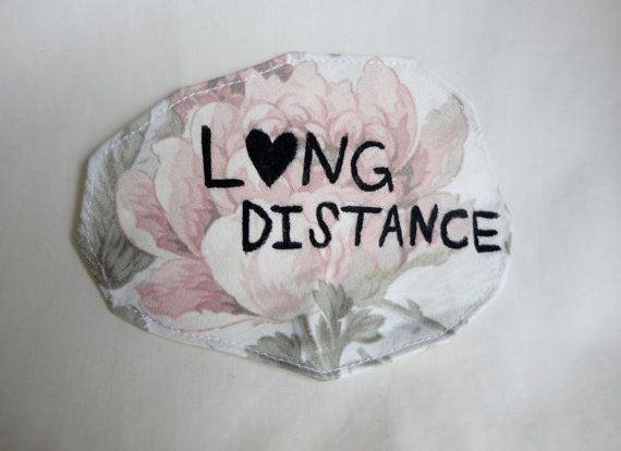 Stunning hand-painted Long-Distance patch in a vintage pink rose-patterned fabric. Rep your relationship status or your love for all long distance