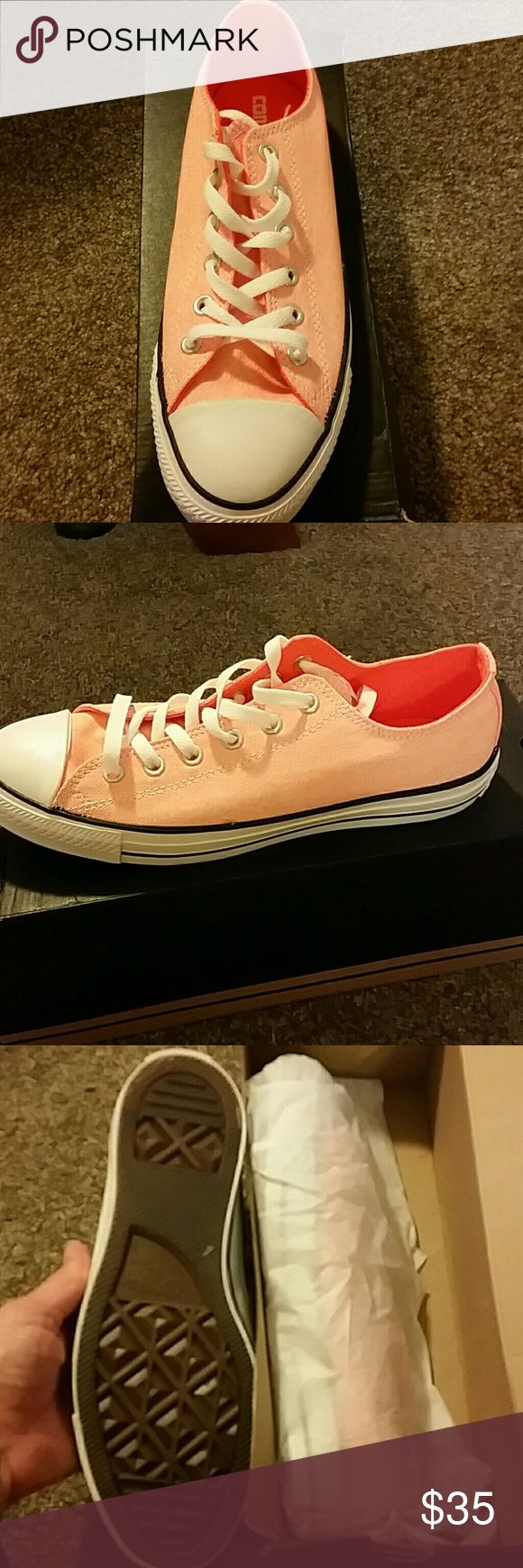 Converse neon orange women's 10 mens 8 These are new in their box. Color on box says neon orange. They're really pretty but their too small for me. Converse Shoes Athletic Shoes