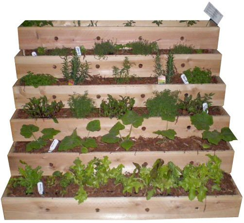 Tiered planter for small space: Gardens Ideas, Small Spaces Gardens, Pallets Planters, Apartment Therapy, Tiered Planters, Gardens Planters, Herbs Gardens, Decks Planters, Tiered Gardens