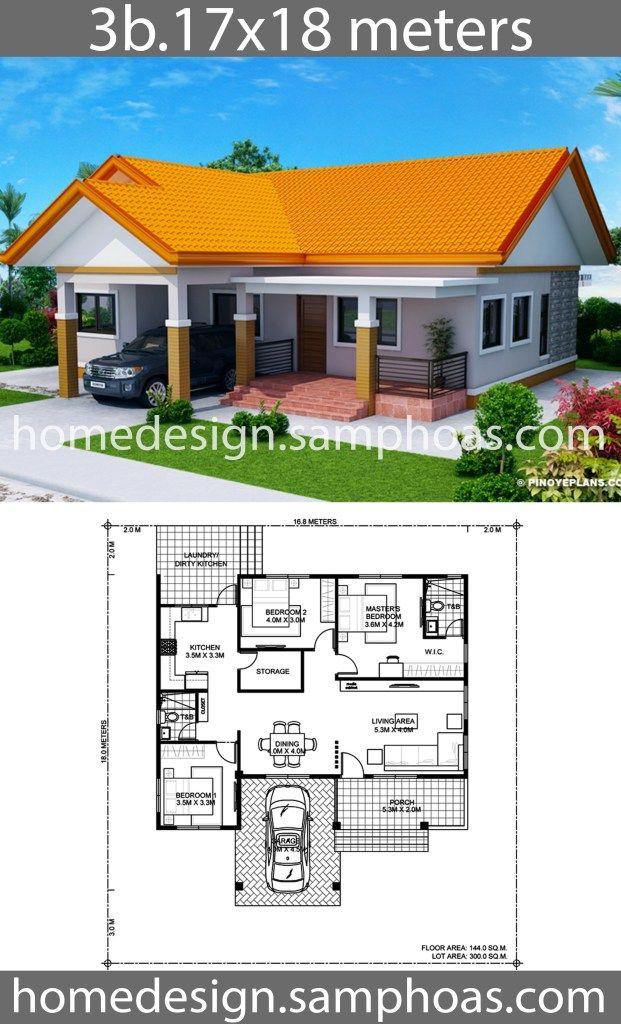 House Design Plans 17x18m With 3 Bedrooms Planos De Casas Medidas Diseno De Casa Planos Disenos De Casas